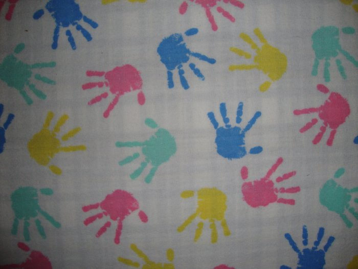 F8 Princess Fabrics Pastel Finger Paint Hand Prints on White Cotton Flannel Fabric Fat Eighth F8th