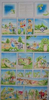 Lagon Dragon Fairy Tale Kids Story Quilt Block Fabric Panel by Maywood Studio