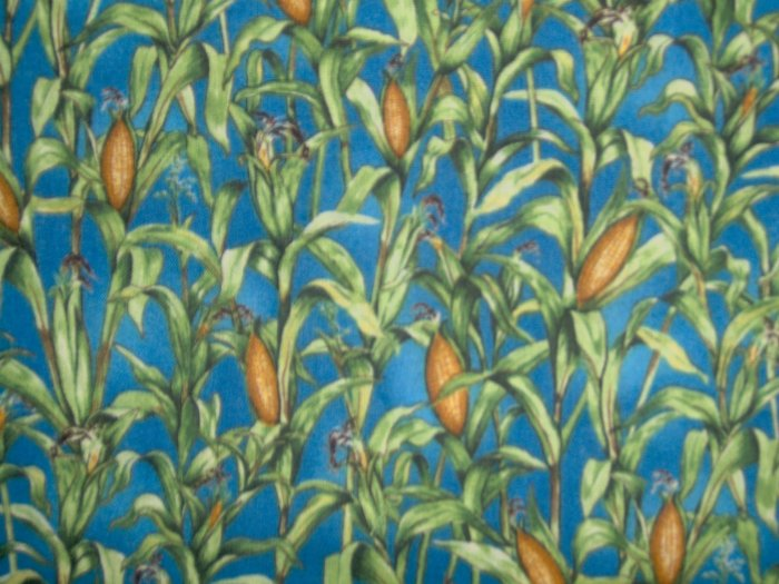 Down on the Farm Corn Field on Blue Fabric by South Sea Imports SSI LAST PIECE