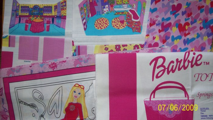 SAVE! Barbie Mattel Pink Kids Cotton 5 Piece Fabric Lot with Panels Yardage