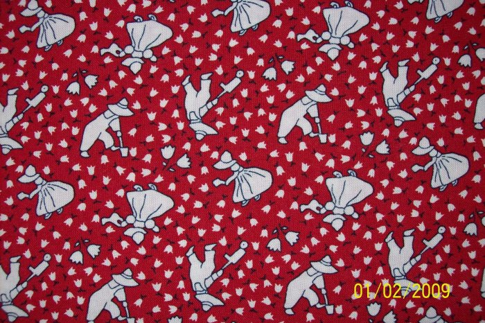 Sunbonnet Sue Gardening on Red RJR Fabric 30s Repro Everything But the Kitchen Sink Fat Quarter FQ
