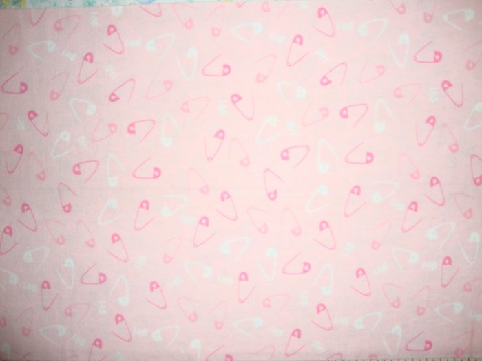 SALE! Diaper Pin Toss on Pink Cotton Flannel Fabric Fat Eighth F8 F8th
