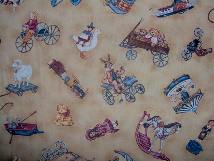 SALE! Country Hearts Toy Shoppe Toss on Tan Cotton Fabric by Timeless Treasures Fat Eighth F8 F8th
