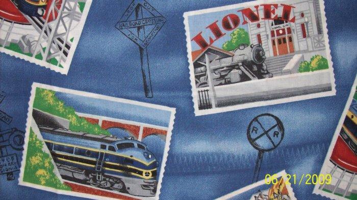 FQ Lionel Train Trains Postcard Postage Stamp Cotton Fabric Fat Quarter
