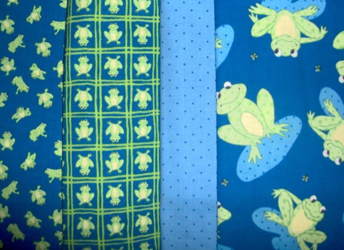 Leap Frogs Cotton Fabric Lot 4 Designs 7+ yards Fabric LAST BUNDLE