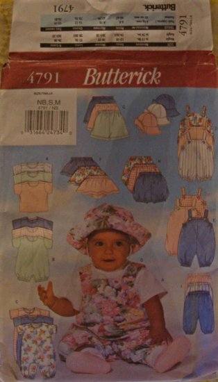 Butterick Baby Clothes Pattern 4791 Size NB S M Newborn Small Medium