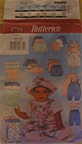 Butterick Baby Clothes Pattern 4791 Size NB S M Newborn Small Medium