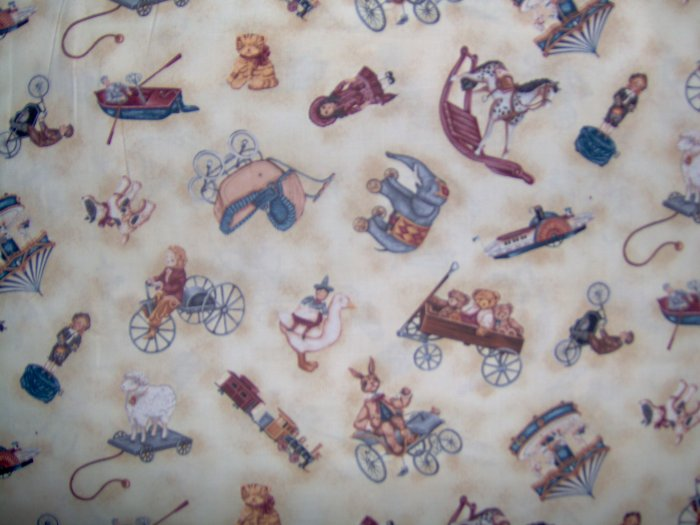 Country Hearts Vintage Toy Shoppe Antique Toss on Cream Fat Quarter FQ Timeless Treasures Fabric