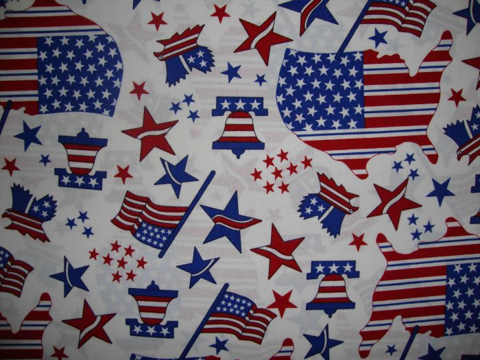 Americana Stars & Stripes Map Flag Bell on White Fabric by Oakhurst Textiles By the Yard BTY