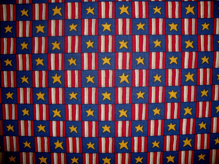 Red White Blue and Gold Stars and Stripes Patchwork Cotton Fabric BTY By the Yard