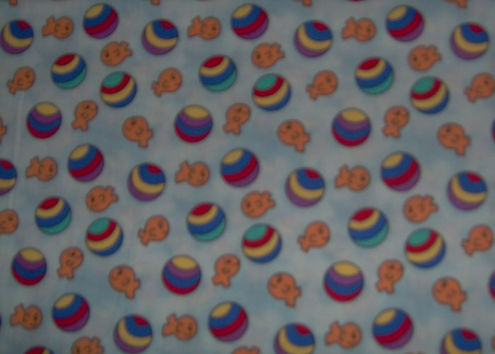 Beach Ball Goldfish Toss on Blue by Fabric Visions BTY By the Yard
