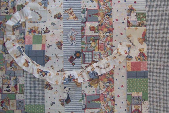 2+ Yards Blue Jean Teddy Cotton Fabrics Value Bundle Scrap Bag & Ruffle by Daisy Kingdom ONLY 1!
