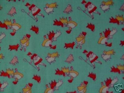 Granny's Nursery Rhymes Mary Lamb Bo Peep on Green Repro Kids Cotton Fabric 1 1/3 Yd