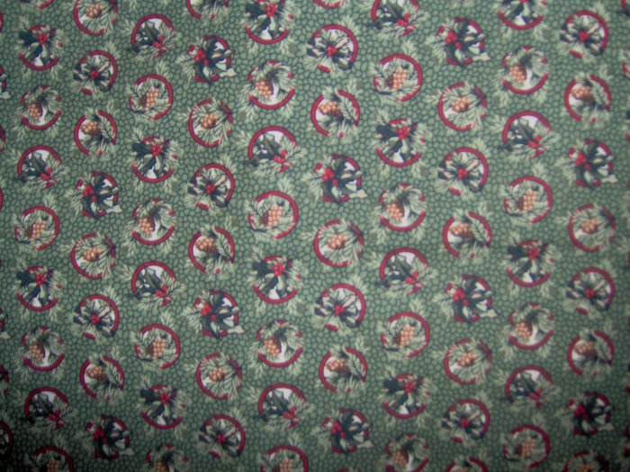 RJR Thimbleberries Quilt Club 2004 Holly and Pine Circles Cotton Fabric 1 1/8+ Yard LAST PIECE!