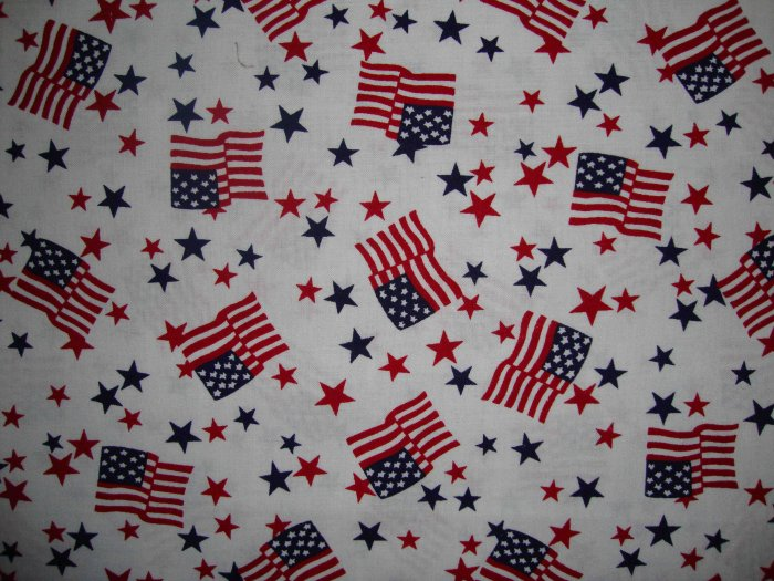 Americana Stars and American Flag on White Fabric LAST PIECE