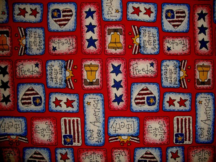 1 7/8+ Yard Americana Folk Art Patches on Red Fabric LAST PIECE