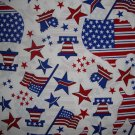 F8 Americana Stars & Stripes Map Flag Bell on White Fabric by Oakhurst Textiles Fat Eighth F8th