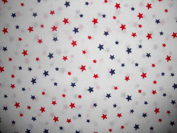 Red & Blue Stars on White Cotton Fabric Fat Quarter FQ