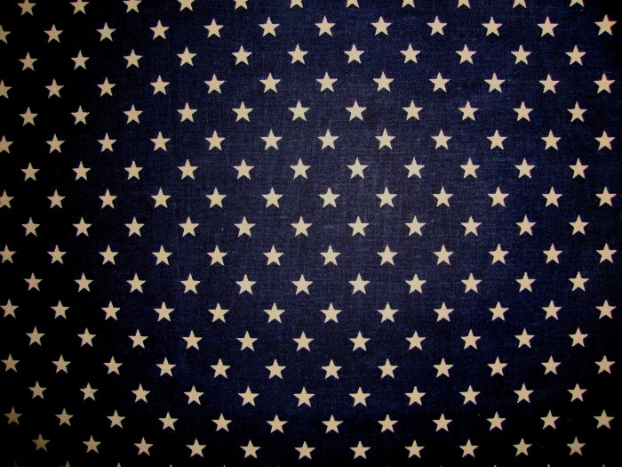 Antiqued White Stars on Navy Blue Cotton Fabric Fat Quarter FQ