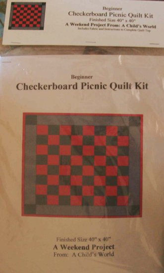 Checkerboard Picnic Quilt Kit with Black Gray Red Fabrics Beginner Weekend Project