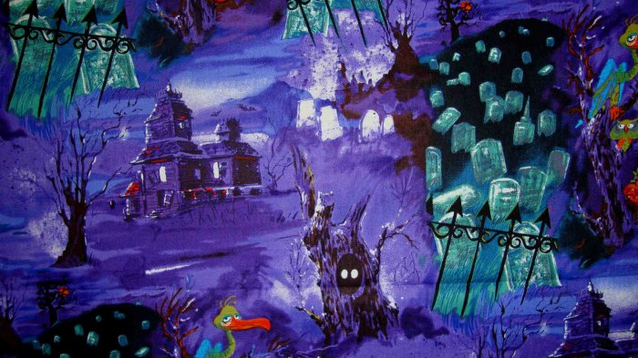 Haunted House and Grave Yard on Purple Halloween Fabric Fat Quarter FQ