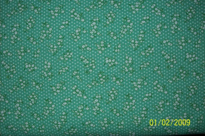 BTY RJR Everything But the Kitchen Sink White Calico Flowers on Green 30s Repro Fabric By the Yard