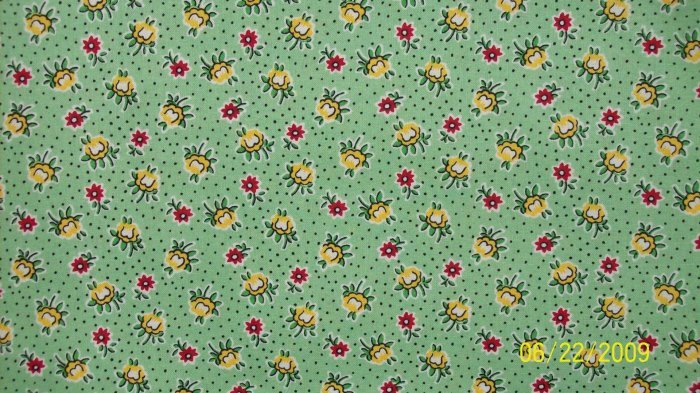 RJR Few of My Favorite Things Yellow Red Flowers on Green Quilt Fabric Last Piece! 2 1/3+ Yards