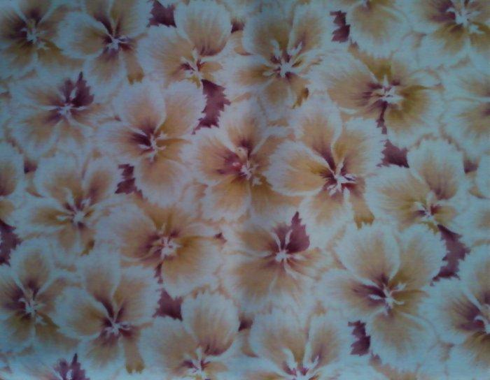 FQ RJR Windswept White Beige Tan Purple Flowers Floral Allover Fabric Fat Quarter