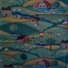 FQ Concord Folk Art Scenic Farm Pastures Horse Cow Cotton Quilting Fabric Fat Quarter