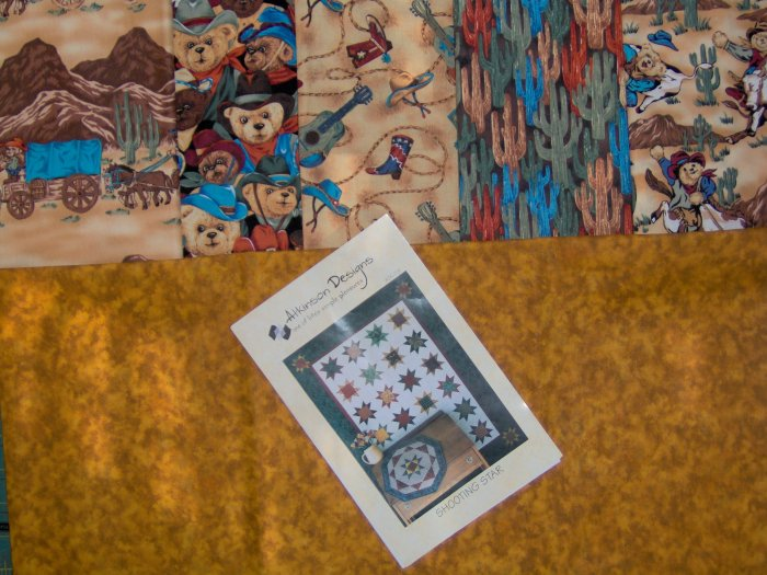 Quilt Kit w/backing using Atkinson Designs Shooting Star Pattern and Bears West Cowboy Bear Fabric