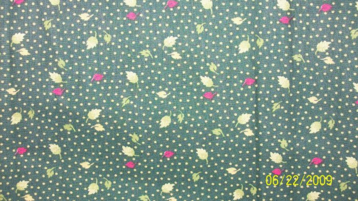BTY CHANTECLAIRE CLASSIC BLOOMS Leaves on Green REPRO COTTON FABRIC By the Yard