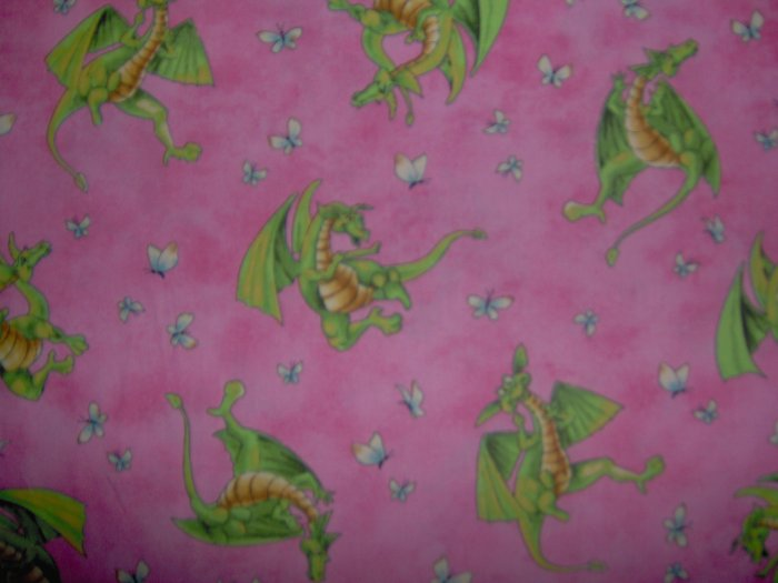 Lagon Dragon Toss on Pink Cotton Kids Fabric Fat Quarter FQ by Maywood Studio