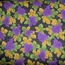 Purple Grape Clusters Vine Leaves on Black Cotton Quilt Fabric Fat Quarter FQ