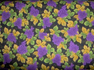 Purple Grape Clusters Vine Leaves on Black Cotton Quilt Fabric Fat Quarter FQ
