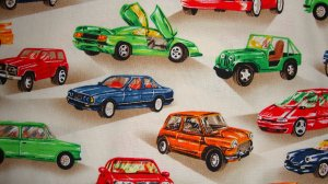 BTY Vintage Cars Jeep on Tan Cotton Fabric by Shamash & Sons By the Yard