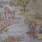 Holland Windmills Vintage Children Playing on Off White Background Cotton Fabric Per 1/2 Yd
