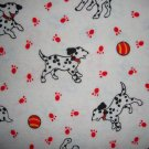 F8 Dalmatian Dogs on White Cotton Flannel Fabric Fat Eighth F8th