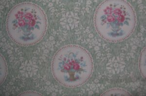 SSI Forever Yours Vintage Cameo Flower Vases Quilting Fabric by South Sea Imports Fat Quarter FQ