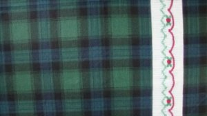 Daisy Kingdom Blue Green Plaid Smocking Border Fabric Fat Eighth F8 F8th
