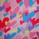 Barbie Hearts Allover Pink Blue Purple Yellow Kids Cotton Mattel Fabric Fat Quarter FQ