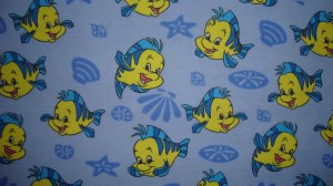 FQ Yellow Blue Fish Cotton Snuggle Flannel Fabric Fat Quarter