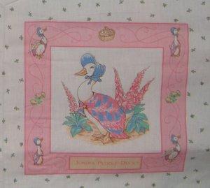 Vintage Beatrix Potter Jamima Puddle-duck Quilt Block Panel Cotton Fabric Square