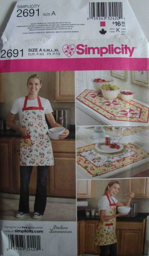 Darlene Zimmerman Apron Table Runner Placemat Sewing Pattern Simplicity 2691