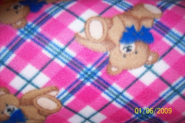 "Mountain Top Teddy Bears on Pink and Blue Plaid 60"" Polyester Fleece Kids Fabric"