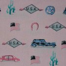 "BTY 60"" Golden D'or Route 66 USA Vintage Retro Auto Pink Fabric"