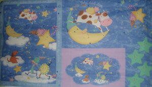 "Hey Diddle Diddle Cat and Fiddle Wall Hanging 60"" Fabric Panel"