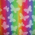 FQ Rainbow Hot White Butterflies on Rainbow Stripes Cotton Fabric Fat Quarter