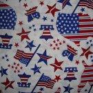 "8"" Americana Stars & Stripes Map Flag Bell on White Fabric by Oakhurst Textiles"