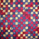 Antiqued Red White & Blue Patchwork Squares Fabric Fat Quarter FQ