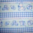 Baby Toys in Rows on Blue Cotton Flannel Fabric Fat Quarter FQ